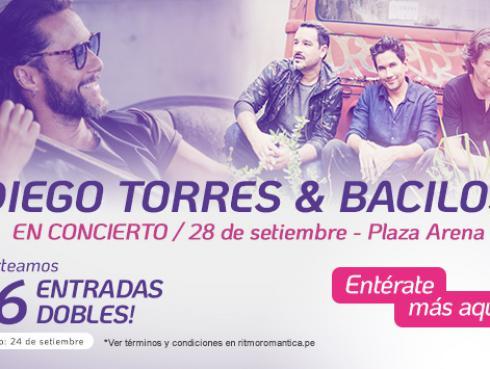 ¡Diego Torres y Bacilos! Gana entradas dobles para el concierto