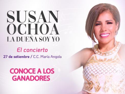 Ganadores de entradas para el concierto de Susan Ochoa 'La dueña soy yo'