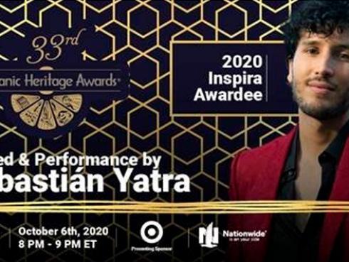 Sebastián Yatra conducirá ceremonia de los Premios a la Herencia Hispana