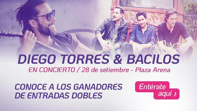 Conoce a los ganadores de entradas para el concierto de Diego Torres y Bacilos