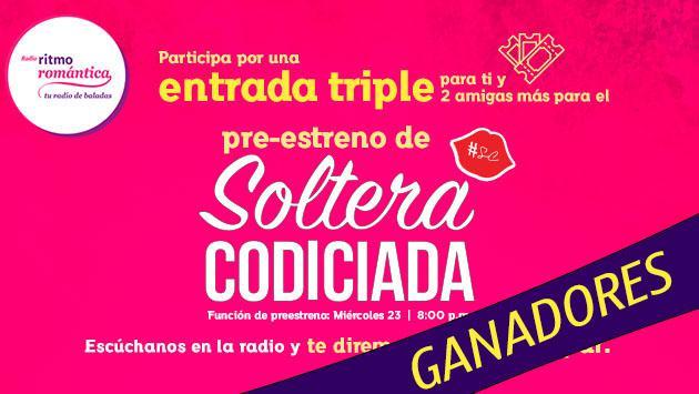 Estos son los ganadores de las entradas triples para el avant premiere de la película 'Soltera Codiciada'