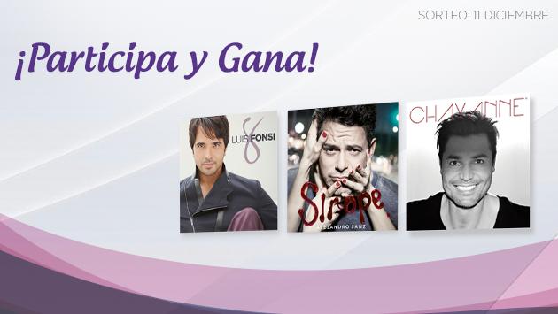 Gana uno de los dos packs de discos de Alejandro Sanz, Luis Fonsi y Chayanne