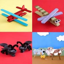 Crea avioncitos, libelulas y animales con ganchos de ropa.